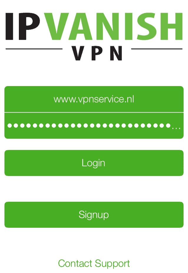 Log in met de gebruikersnaam en wachtwoord van je IPVanish account
