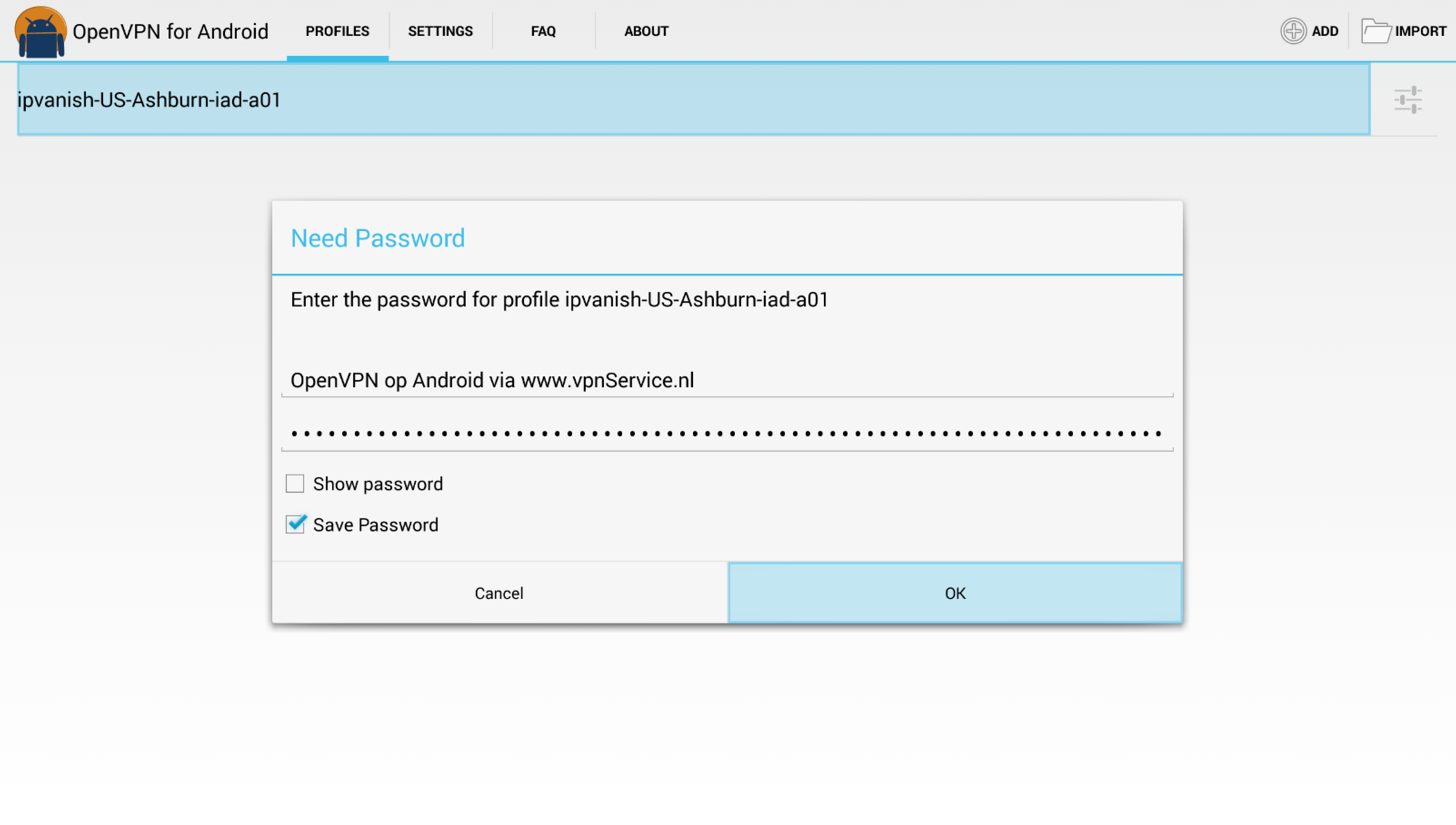 "Geef gebruikersnaam en wachtwoord op en kies ""OK"""