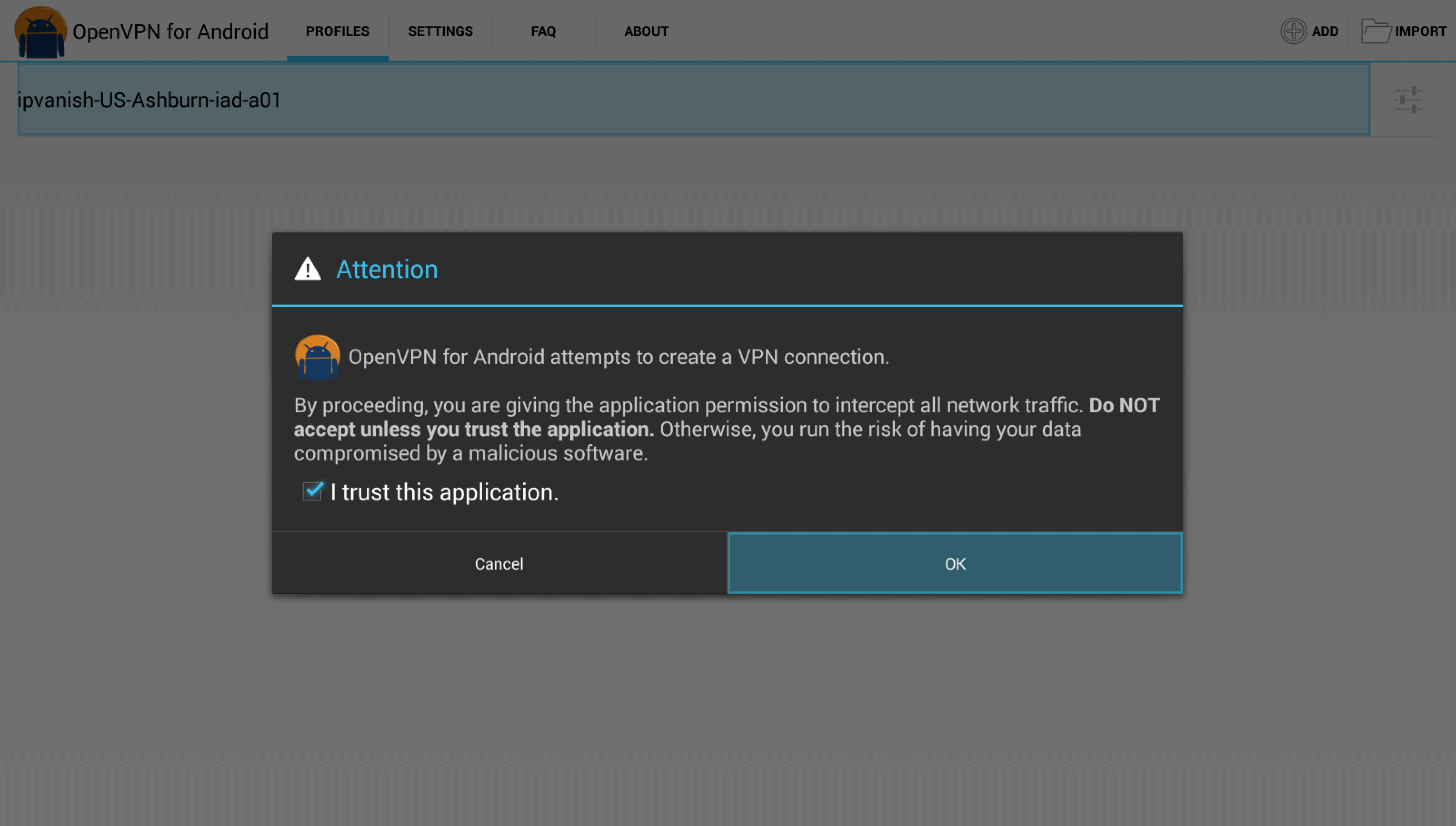 "Kies ""I trust this application"" en ""OK"""