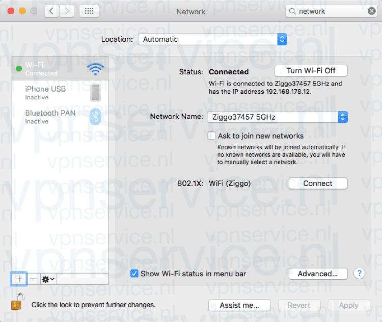 Kies het Plus-teken links onderin om een nieuwe VPN verbinding aan te maken