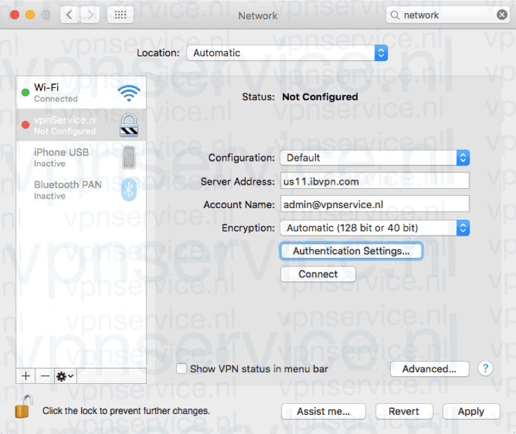 Kies Authentication Settings/Instellingen Identiteitscontrole