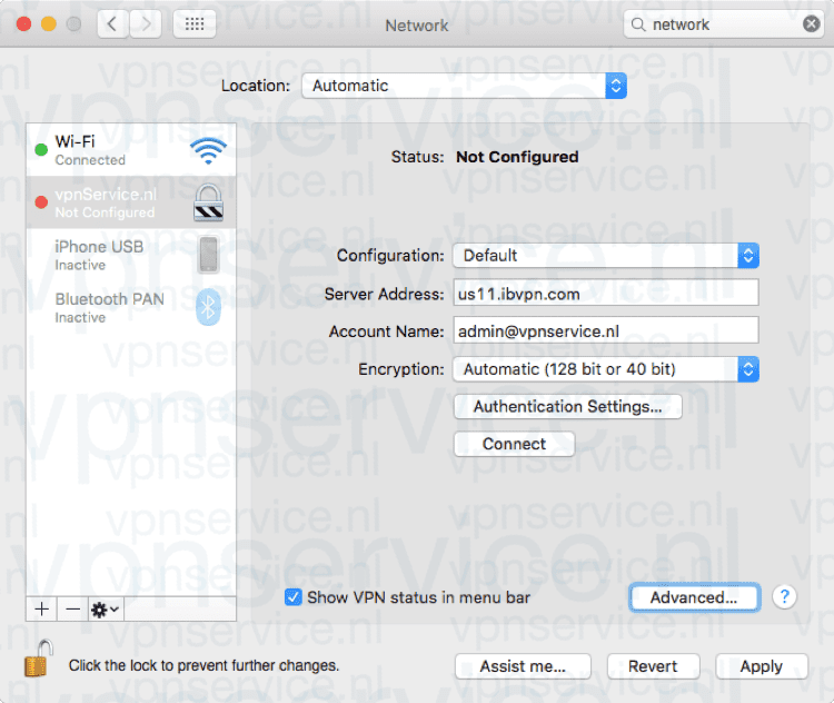 Vink aan: Show VPN status in menu bar/Toon VPN-status in menubalk. Kies Advanced/Geavanceerd