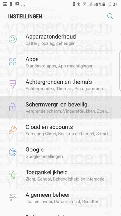 Android privacy instellingen hoofdscherm