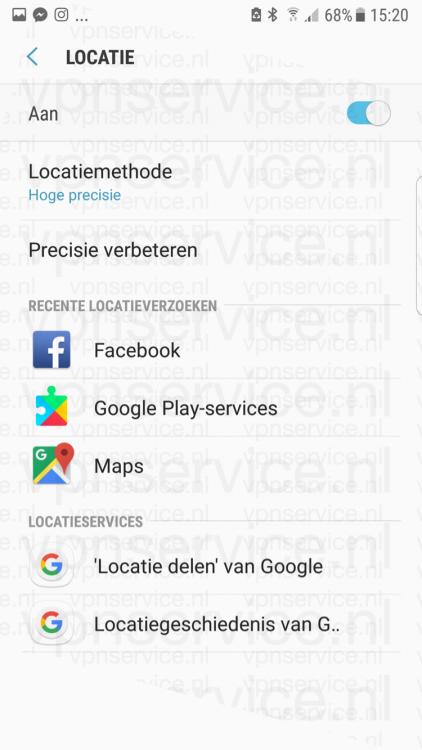 Android privacy instellingen locatie en locatievoorzieningen