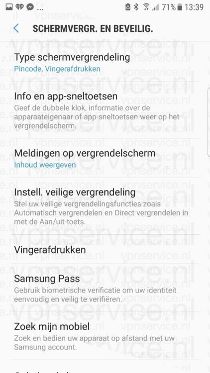 Android privacy instellingen schermvergrendeling en beveiliging submenu
