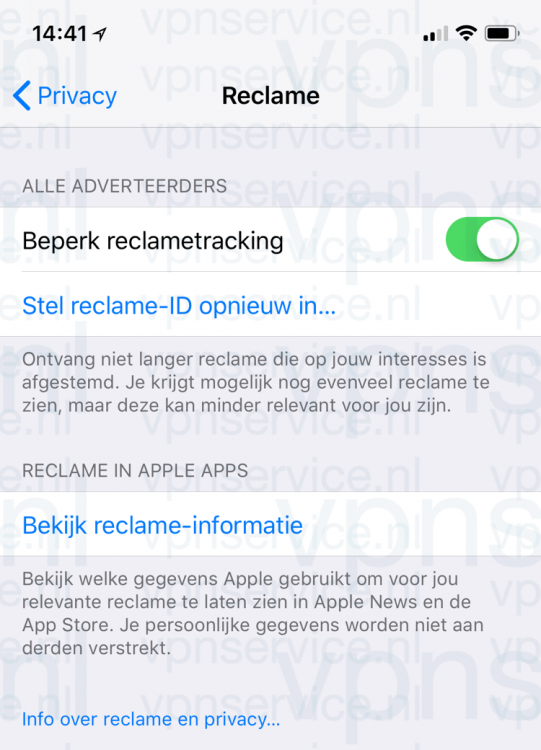 Reclametracking uitschakelen in iOS