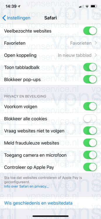 Voorkom volgen functie in iOS privacy instellingen