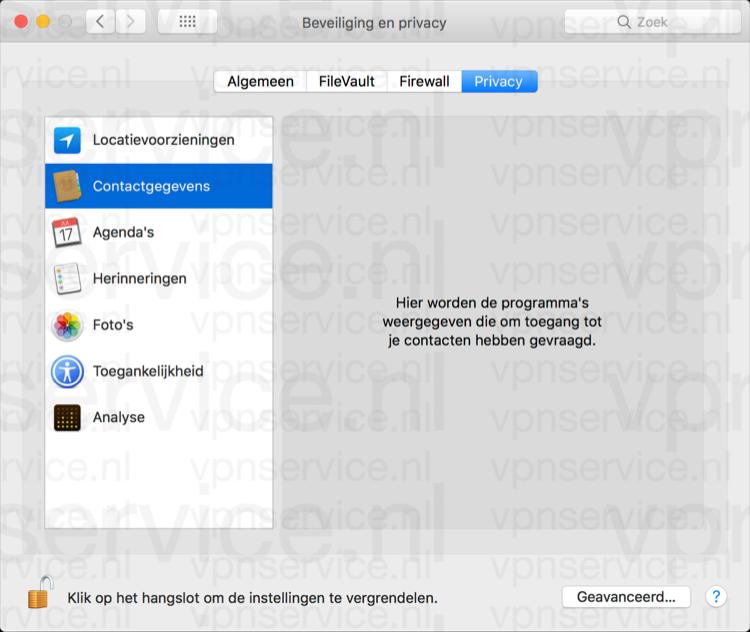 Contactgegevens delen uitschakelen op Mac in privacy instellingen