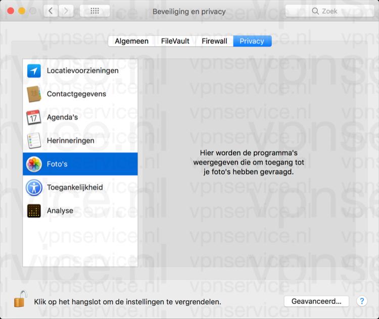 Herinneringen en foto's delen uitschakelen op Mac in privacy instellingen