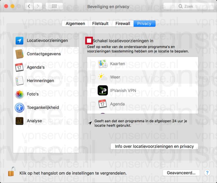 Locatievoorzieningen uitschakelen op Mac in privacy instellingen