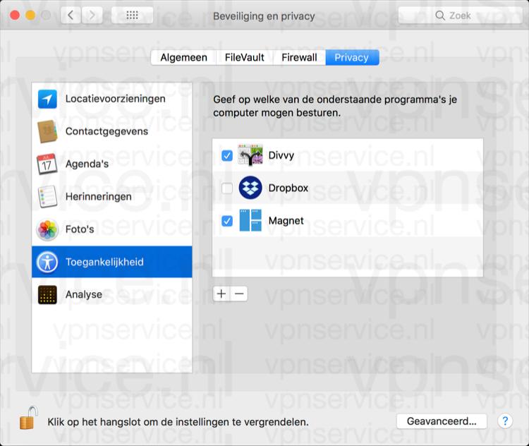 Toegankelijkheid aanpassen in privacy instellingen Mac