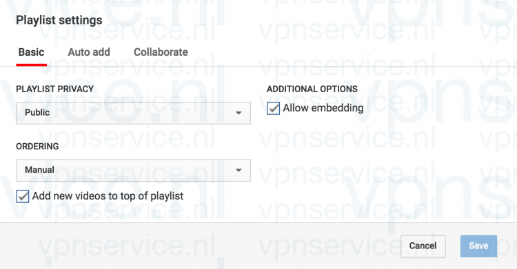 Youtube Privacy Instellingen aanpassen per Playlist