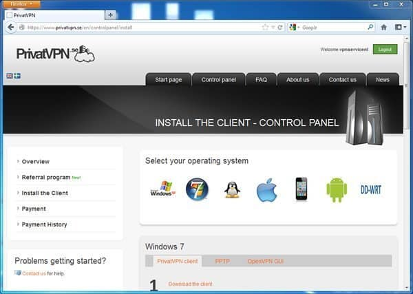 PrivatVPN Control Panel - VPN Software installeren