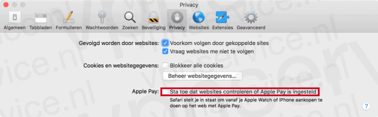 Apple Pay controle uitschakelen in Safari's Privacy Instellingen