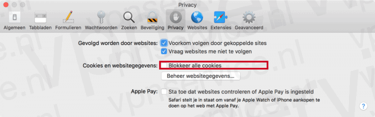 Alle Cookies Blokkeren in Safari Privacy Instellingen