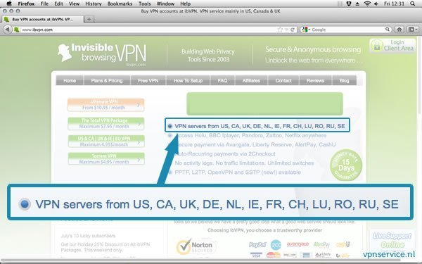 Nederlandse VPN server locaties: VPN service provider InvisibleBrowsing VPN