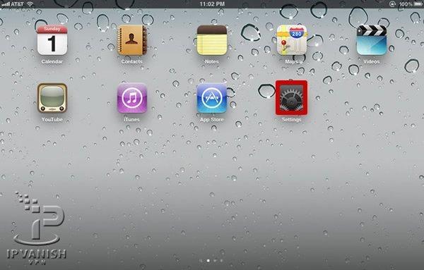 VPN iPad: Kies op het Home Screen voor Settings