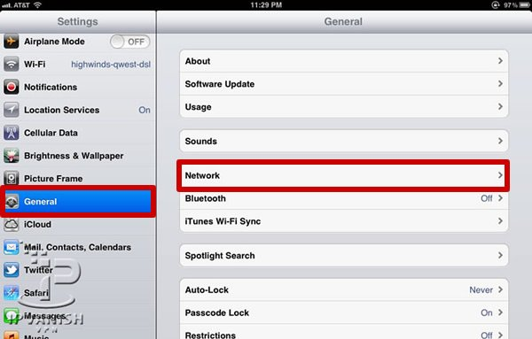 VPN iPad: Kies in het General menu voor Network