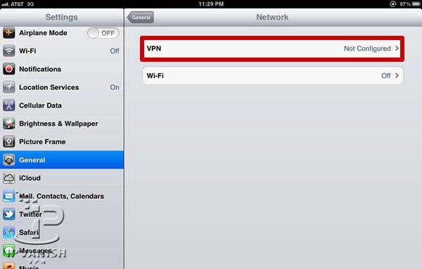 VPN iPad: Kies in het Network menu voor VPN