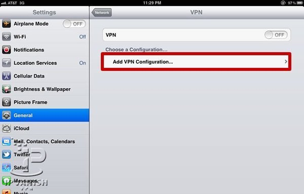 VPN iPad: Kies in het VPN menu voor Add Configuration