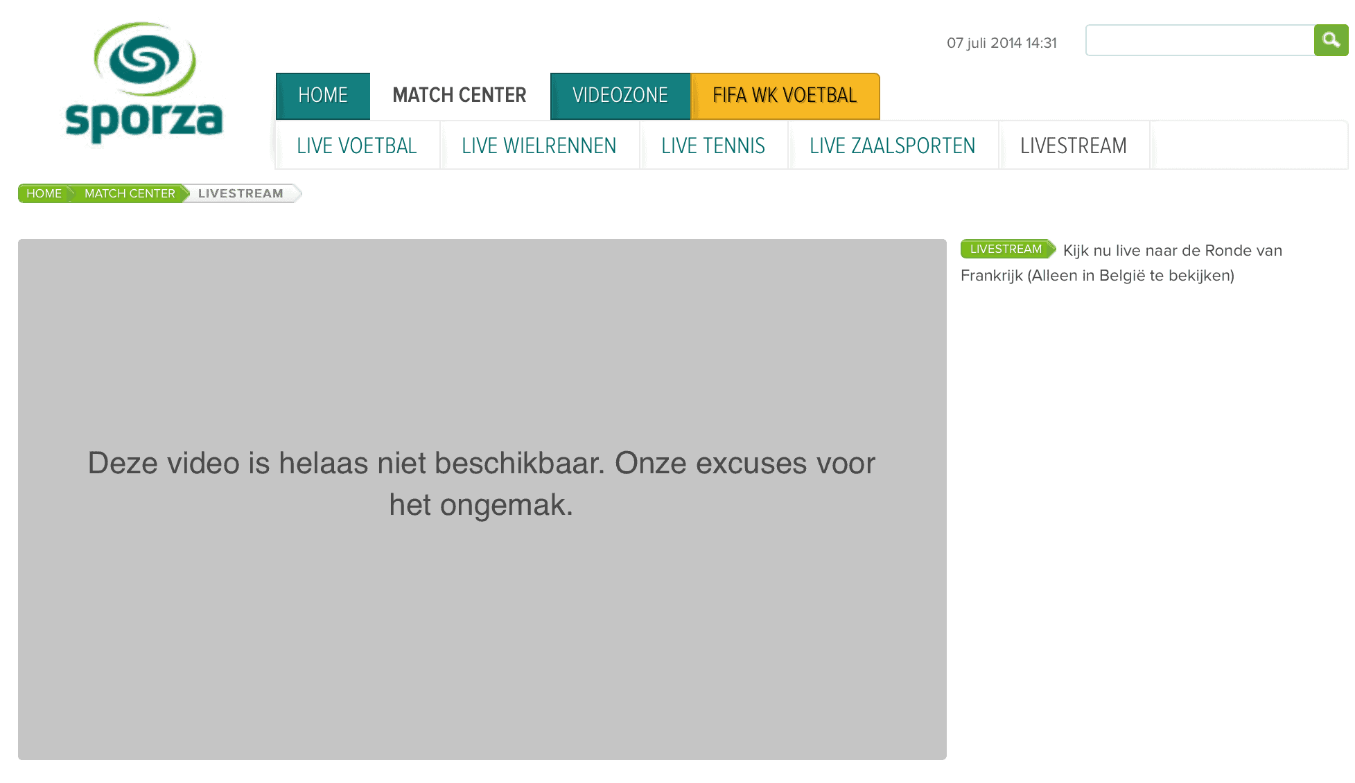 Geografische blokkade op Sporza buiten Belgie