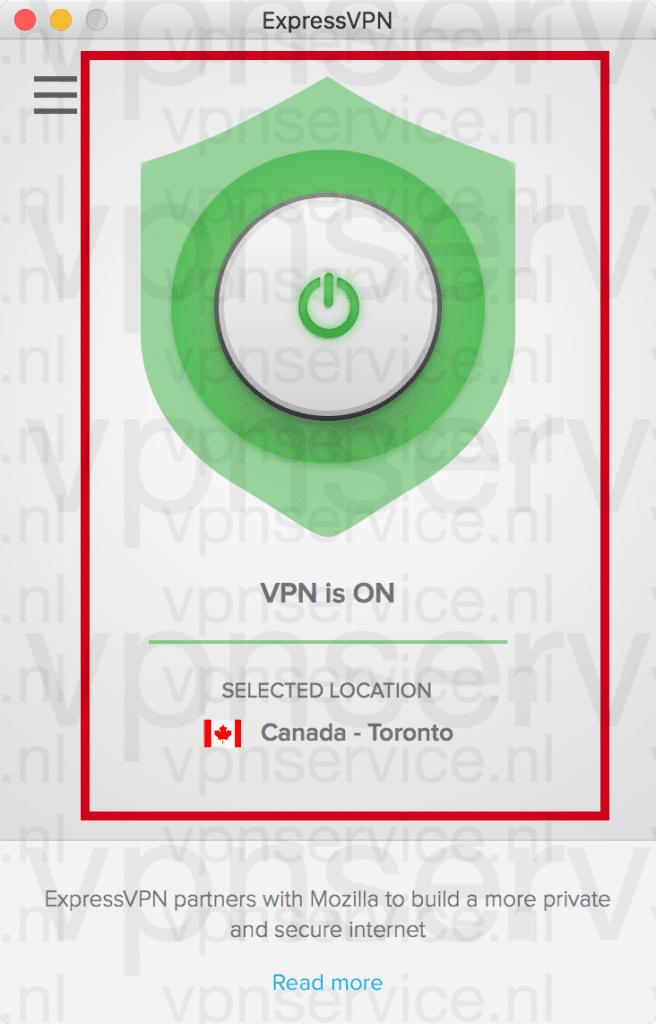 """De verbinding is tot stand gebracht als """"VPN is ON"""" in het venster staat."""