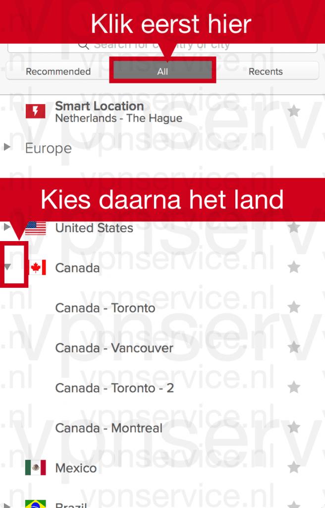 """Open tabblad """"Alles. Open daarna het land (Canada) door op het driehoekje te klikken."""