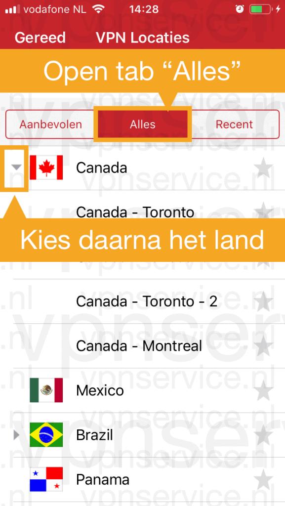 """Open tabblad """"Alles"""". Open daarna het land (Canada)."""