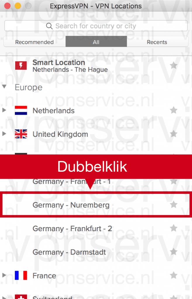 """Dubbelklik op de ExpressVPN serverlocatie """"Nuremberg"""""""