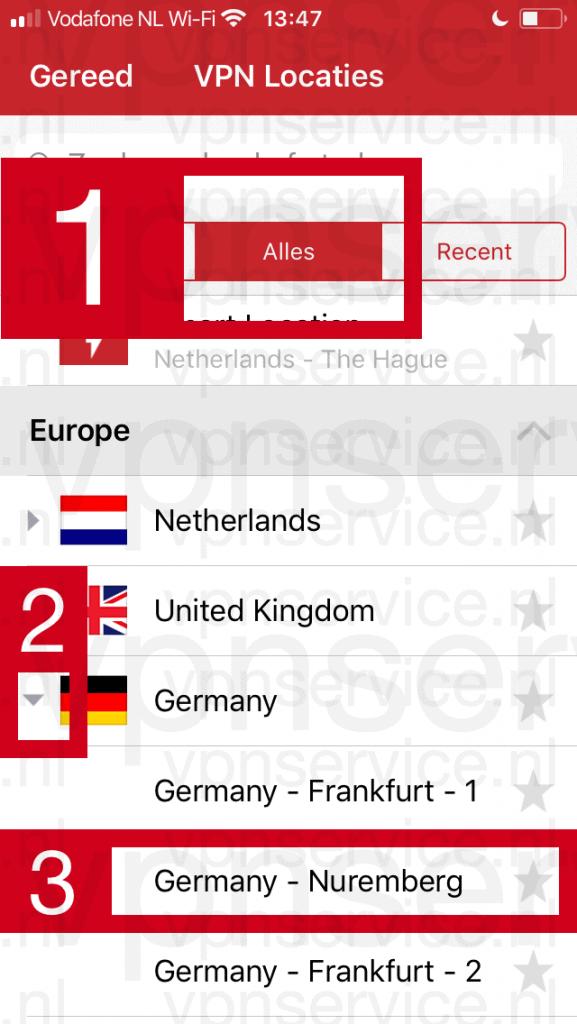 """1. Kies het tabblad """"Alles"""". 2. Kies het driehoekje om de serverlijst uit te klappen. 3. Kies de serverlocatie """"Nuremberg"""""""