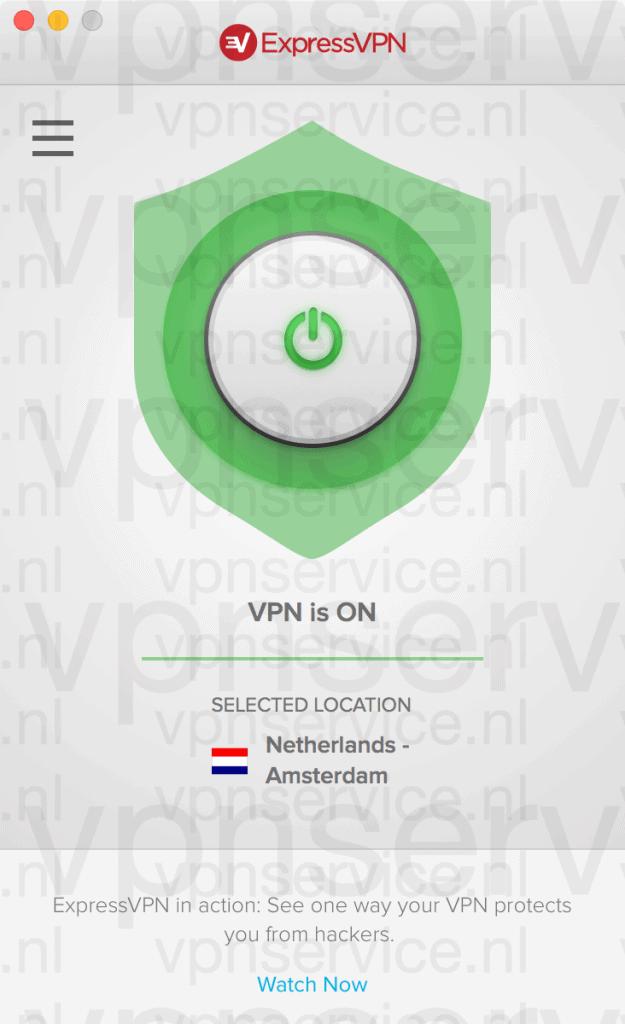 Verbinding met serverlocatie gemaakt met ExpressVPN App voor Mac