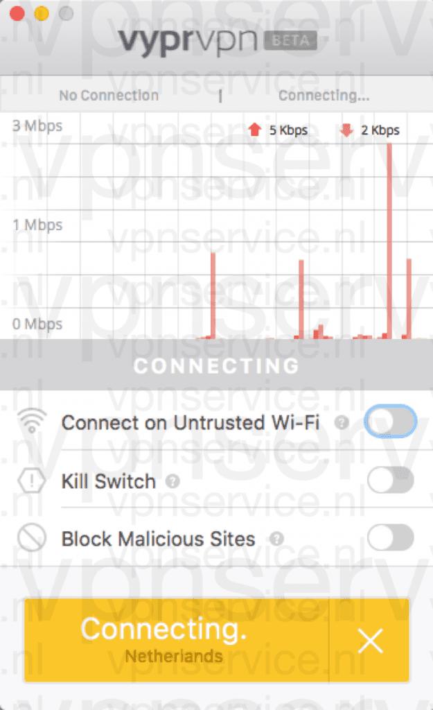 VPN app maakt verbinding