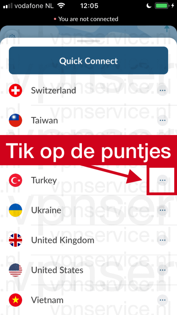 Turkse server in NordVPN app