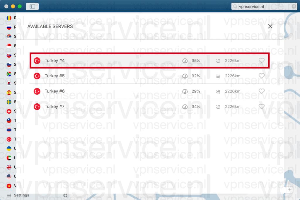 Turkse servers van NordVPN