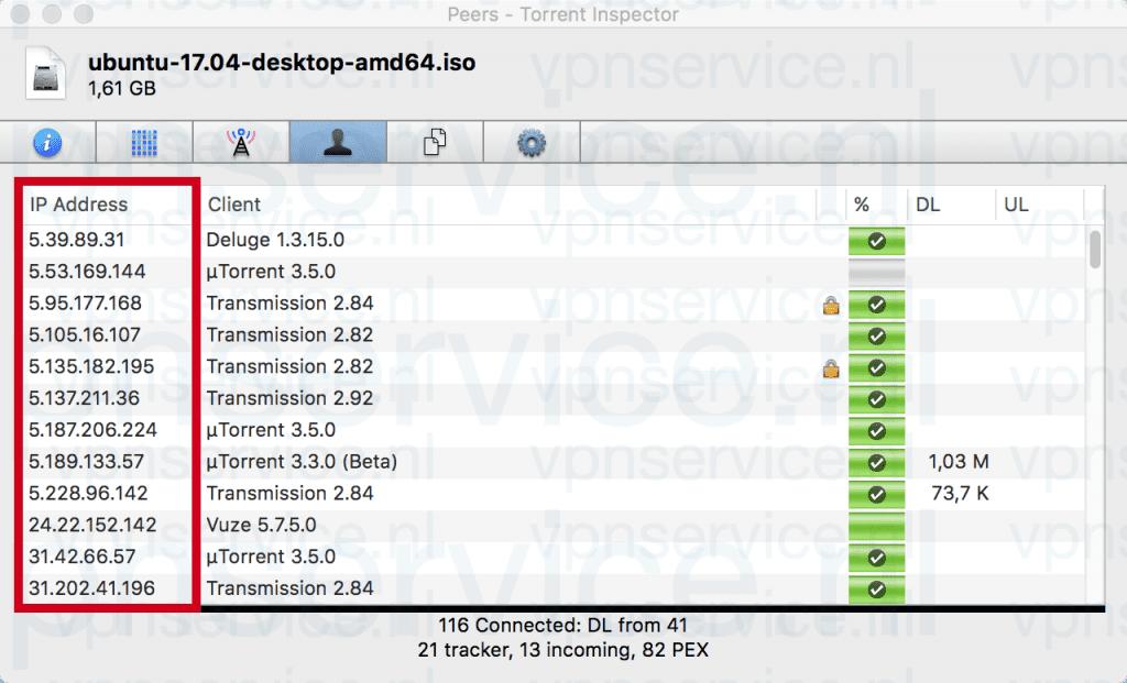 Met Bittorrent kan iedereen je IP-adres zien.