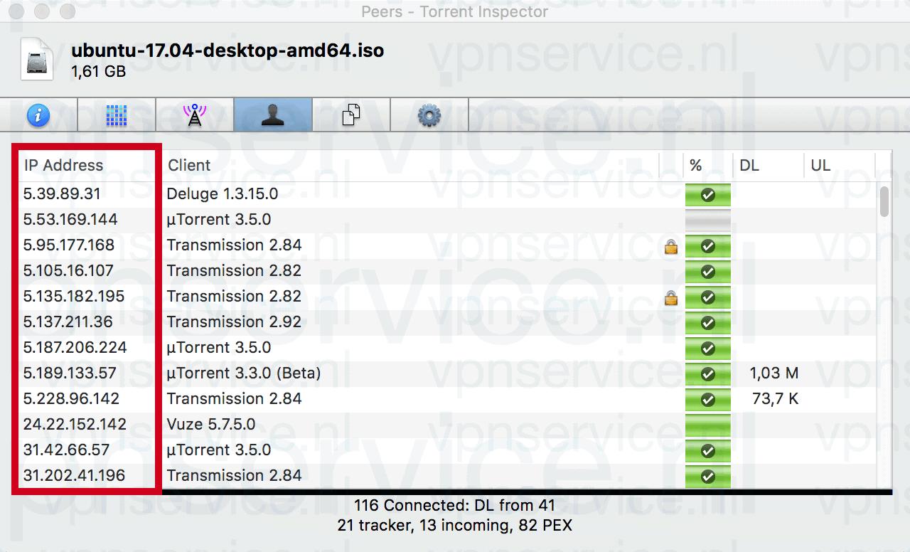 Met Bittorrent kan iedereen je IP-adres zien