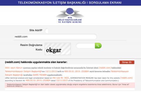 Reddit blokkade in Turkije