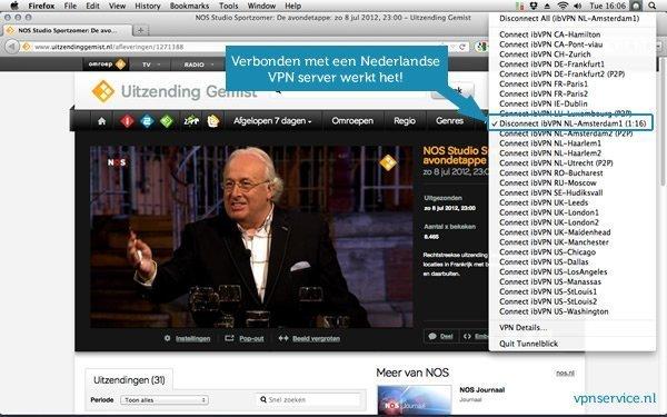 Uitzending gemist kijken vanuit het buitenland met een Nederlandse VPN server