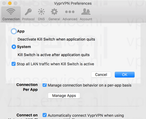 VyprVPN Kill Switch op Systeem- of Applicatie Level