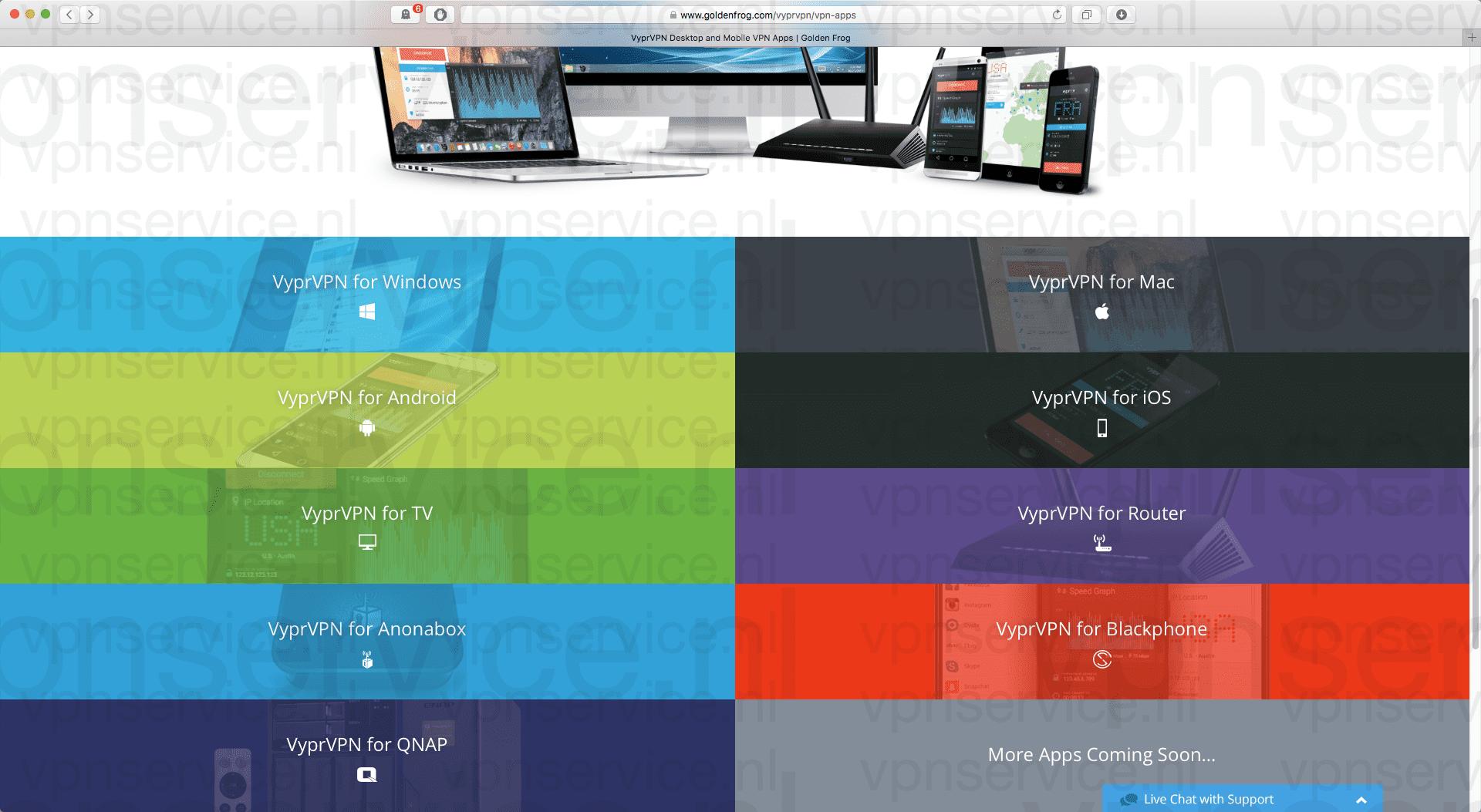 vyprvpn-ondersteunde-platforms-vpn-app