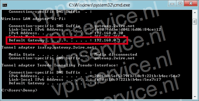 IP-adres van router vinden in Windows command prompt