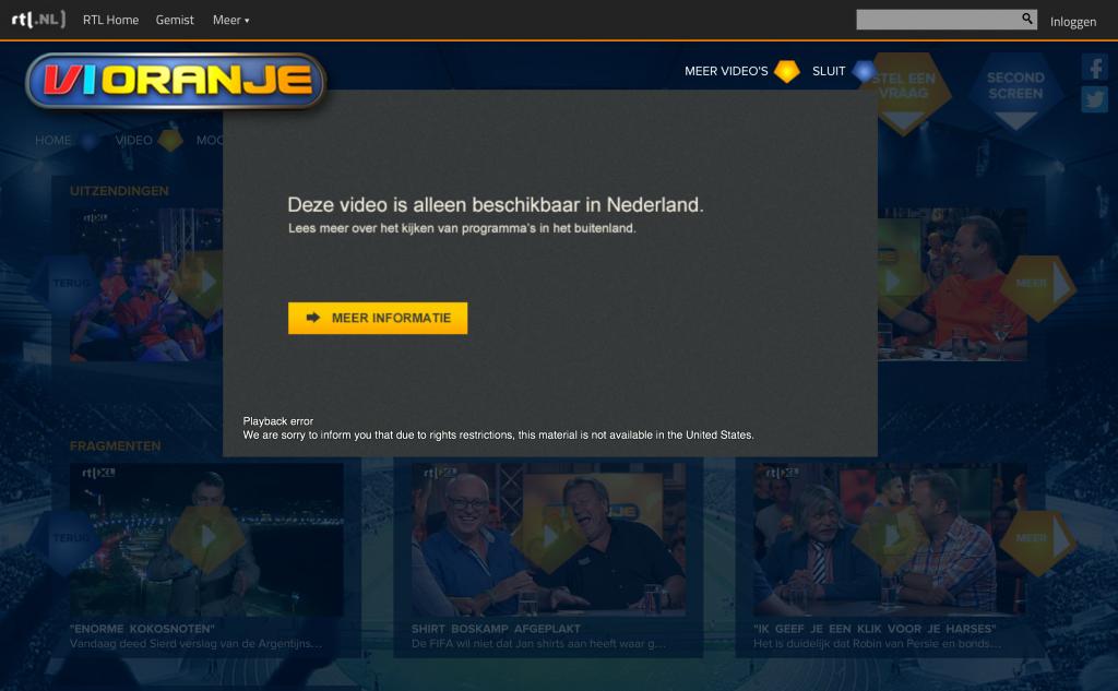 VI Oranje kijken vanuit het buitenland via RTL XL gemist
